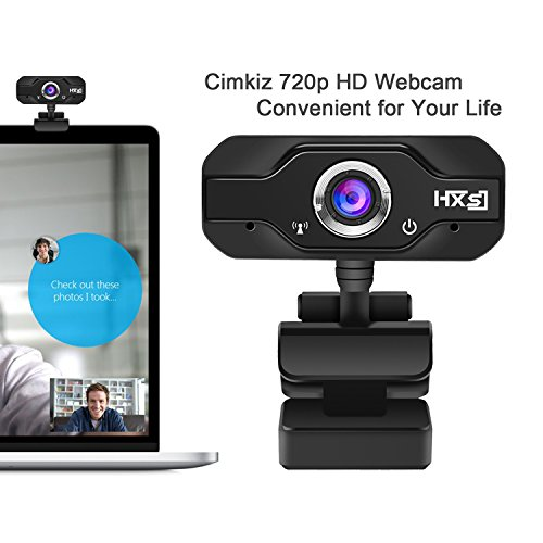 720p HD USB Webcam, Cimkiz Web Camera with Built-in Microphone and Autofocus,Web Cam for Laptop/Desktop/Skype/Facetime/Youtube/Yahoo Message