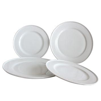 Dinnerware Sets Embossed Design Assorted White Round Salad Steak Plates Dishes Set of 4 10.7  sc 1 st  Amazon.com & Amazon.com: Dinnerware Sets Embossed Design Assorted White Round ...