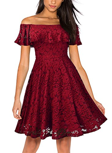 off shoulder red evening dress - 6