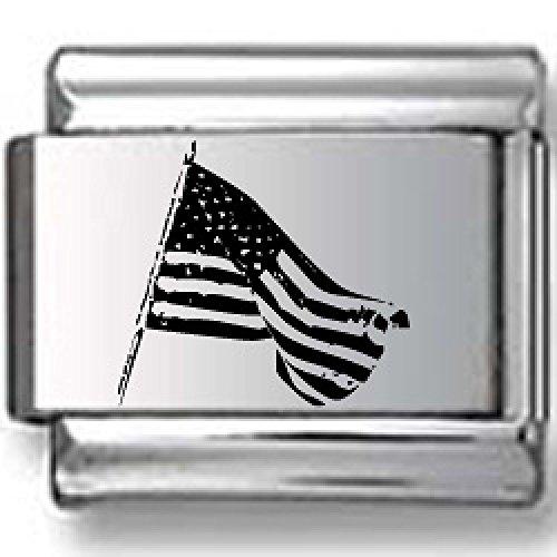 American Flag Black Laser Italian Charm - American Flags Laser Charm