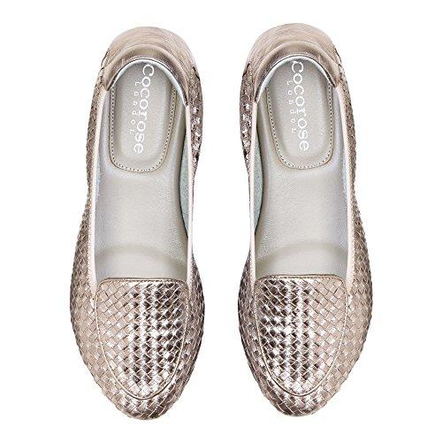 Cocorose Foldable Shoes - Clapham Ladies Leather Ballet Pumps Rose Gold HwULSIAf