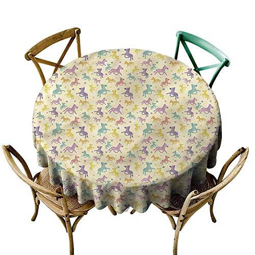 UETECH Overlays Round Tablecloth Safari,Savannah Fauna Zebras Lines Fabric Tablecloth Diameter 60