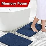 Flamingo P Microfiber Memory Foam Fieldcrest Luxury Bath Rugs, 17-Inch by 24-Inch, Navy Waved Pattern, Two Pieces