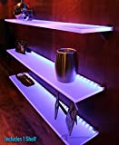 LED Lighted Floating Wall Shelf - 3' Long x 4.5'' Deep w/ Power Supply & LED Controller