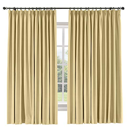 Sahara Curtain Cotton - TWOPAGES 150 W x 96 L inch Pinch Pleated Curtains Blackout Curtain for Bedroom Cotton Blend Room Darkening Blackout Curtains, (1 Panel, Sahara Sun)
