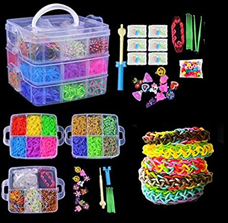 FidgetFidget Colorful Rainbow Rubber Bracelet Loom Bands Making Kit Set Fun 4800x 15000× 4800pcs