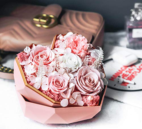 Labloom Flowers Arrangements, Preserved Everlasting Roses, Heart Shape Gift Box, Roses in Box, Gift for Women, Luxury Unique Gift for Her Birthday, Anniversary, Valentine