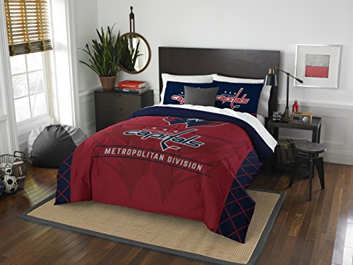 Officially Licensed NHL Washington Capitals Draft Full/Queen Comforter and 2 Sham Set (Washington Capitals Throw)