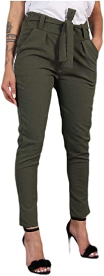 VITryst Women's Slim Fit Solid Belted Elegant Mid Rise Pencil Pants