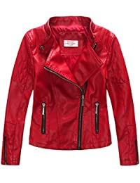 Girls'Faux Leather Quilted Shoulder Motorcycle Jacket