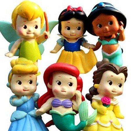 """Set de 6 Chunky Bébé Tout princesse deux chiffres """"avec la Fée Clochette, Blanche-Neige, Jasmine, Cendrillon, Belle, et Ariel"""