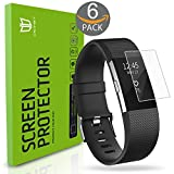 (US) Fitbit Charge 2 Screen Protector, [6-Pack] DEGBIT [NO-Peeling off] [Full Coverage] HD Clarity/Anti-Scratch/Anti-bubbles Installation Film Cover,Screen Protector for Fitbit Charge 2
