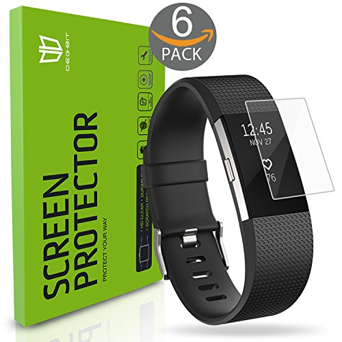 Fitbit Charge 2 Screen Protector, [6-Pack] Degbit [NO-Peeling off] [Full Coverage] HD Clarity/Anti-Scratch/Anti-bubbles Installation Film Cover, Screen Protector for Fitbit Charge 2 -Lifetime Warranty