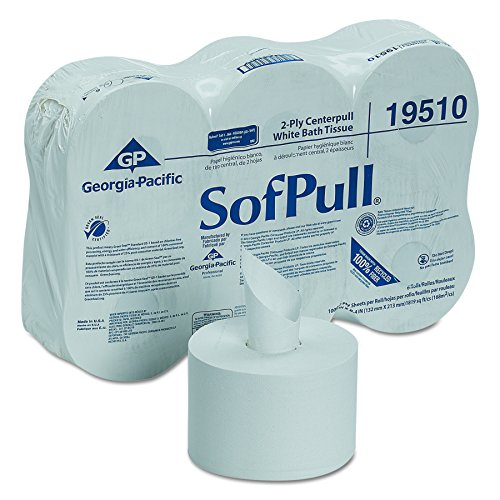 SofPull Centerpull 2-Ply High Capacity Toilet Paper by GP PRO (Georgia-Pacific), 19510, 1000 Sheets Per Roll, 6 Rolls Per Case