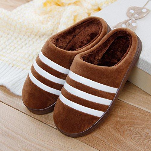 Brown1 pantofole donne di pantofole antiscivolo gli spesse riscaldare a pantofole DogHaccd uomini Inverno casa paio pantofole peluche a cotone di le e rimanere per AgIA7q
