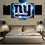 [LARGE] Premium Quality Canvas Printed Wall Art Poster 5 Pieces / 5 Pannel Wall Decor New York Giants NY Logo Painting, Home Decor Pictures - With Wooden Frame