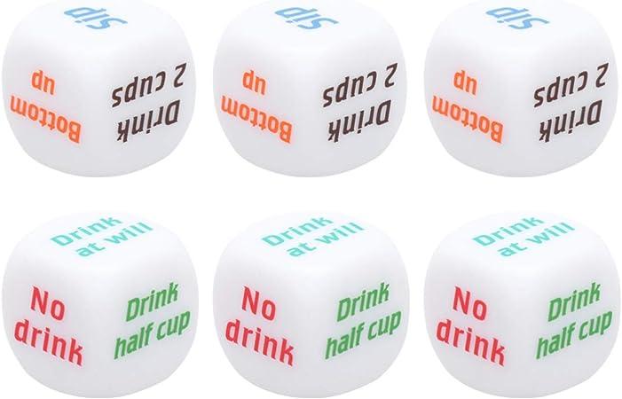 LIOOBO - Juego de 6 Dados de Juego para Adultos, 2 cm, para Despedida de Soltera, Juegos para la casa, Juguetes Divertidos: Amazon.es: Hogar