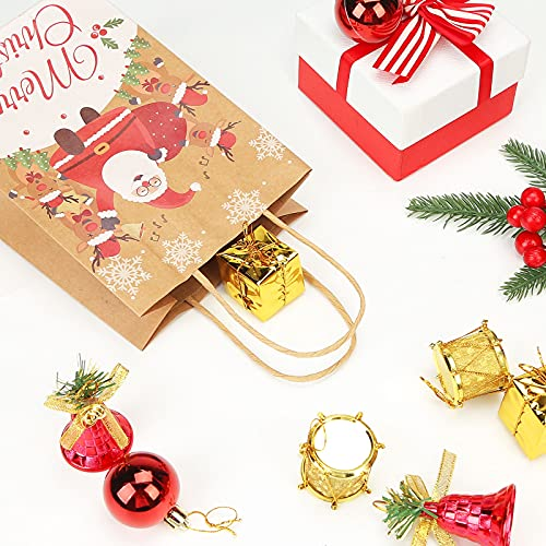 TOXOY Christmas Paper Bags with Handles, 18 PCS Christmas Kraft Gift Bags Christmas Bags Bulk Xmas Assorted Paper Bags for Christmas Present
