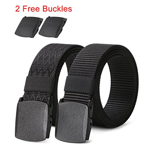 2 pack Mens Nylon Belt with Plastic Buckle TSA Belt, Adjustable Black Military Style Belt for - Belt Adjustable Loop