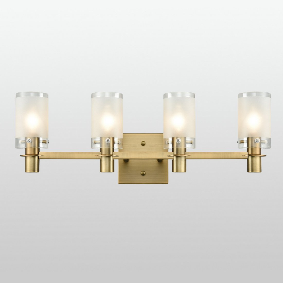 AXILAND Gold Plating Bath Vanity Light Wall Sconce Fixture with Frosted Glass Shade