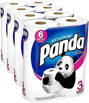 Panda Ultra Premium Papel Higiénico Suave Y Fuerte 24 Mega Rollos 308 Hojas 4 Paquetes De 6 1 Estuche Health Personal Care