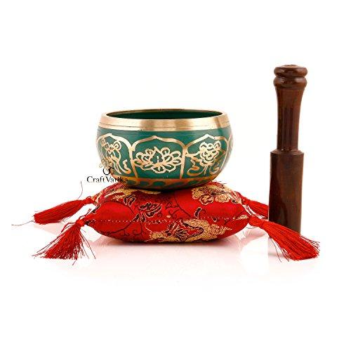 CraftVatika Tibetan Singing Bowl Set Meditating 8 Lucky Symbols With Mallet & Silk Cushion ~ For Meditation, Chakra Healing, Prayer ,Yoga, and Mindfulness ~ Perfect Gift (Green)