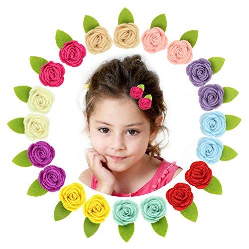 (Beinou Felt Flower Hair Clips Mini Barrettes for Baby Girls Teens Hair Bows Alligator Clips, 20 pcs, 10 Colors)