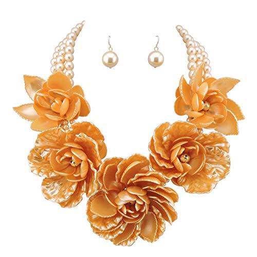 Bocar Statement Big Pendant Pearl Flower Necklace Earrings Jewelry Set for Women (NK-10101-orange)