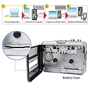 Portable Cassette player Tape to MP3 CD Converter, Microcassette Recorder Convert Cassettes to MP3/CD with USB Cable, Headphones and Software