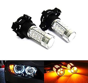 2 bombillas LED de color ámbar PY24W PSY24W para luz diurna LED Samsung para A4 B8 E90 E91 E92 F10 X3 X5 X6 Discovery 4: Amazon.es: Coche y moto