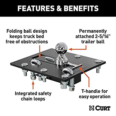 CURT 61052 Over-Bed Folding Ball Gooseneck Hitch, 30,000 lbs., 2-5/16-Inch Ball,Black: Automotive