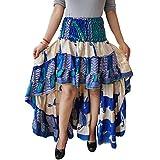 Womens Silk Sari Skirt Beige Recycled Tiered Ruffle Flare Skirts S/M