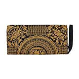 Embroidered Wristlet Clutch - Gold