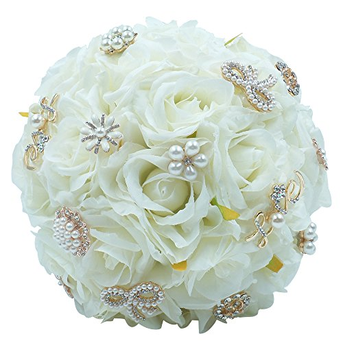 Abbie Home Bride Bouquets-Wedding Flower Bouquet Handmade Ivory Orchid Rose Silk Belt Holding (413GR)