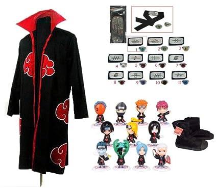Sunkee Naruto Cosplay Akatsuki Ninja Capa + Naruto Naruto ...