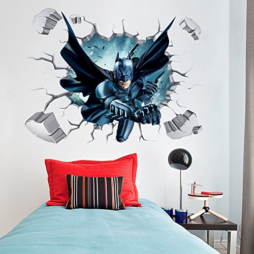 Fangeplus(TM) DIY Removable 3D Batman Broken wall Hole View Art Mural Vinyl Waterproof Wall Stickers Kids Room Decor Nursery Decal Sticker Wallpaper 35.4''x23.6''