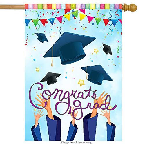 Wamika Congrats Grad Graduation Cap Confetti Double Sided House Flag Garden Banner 28