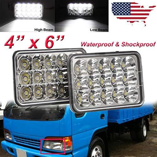 Price comparison product image Yiya 2Pcs 4x6 LED Headlights High & Low Beam Sealed Beam,  102W / 6000K