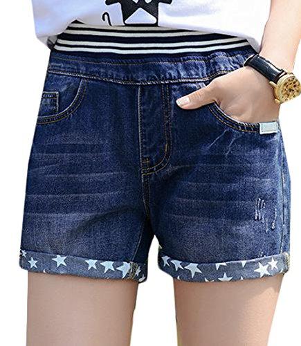 Fulok Womens Straight Leg Elastic-waist Ripped Bermuda Denim Shorts dark blue XL