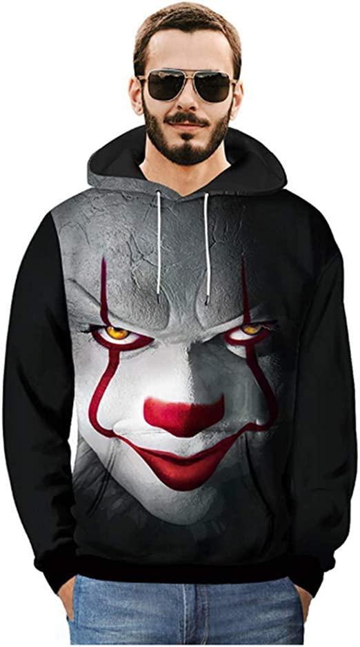 3D Print Sweatshirt Hoodie Stephen King It Pennywise Horror Clown Sportswear Hot