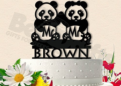 Panda Bears With Last Name Wedding Cake Topper