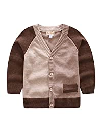 FCQNY Kids Baby Little Boys Outfits Button-Down Patchwork Cotton Sweater Cardigan