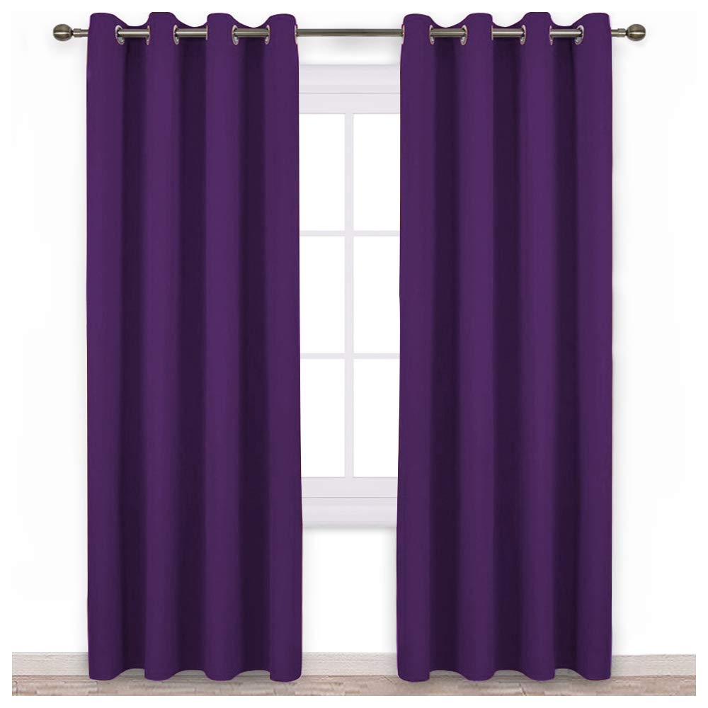 NICETOWN Blackout Curtains Drapery Panels - Window Treatment Royal Purple Blackout Curtains/Panels for Bedroom/Living Room Window, 84 inches Long, 2 Panel Set