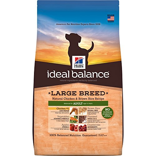 Hill's Ideal Balance Adult Natural Dog Food, Large Breed Chicken & Brown Rice Recipe Dry Dog Food, 30 lb Bag