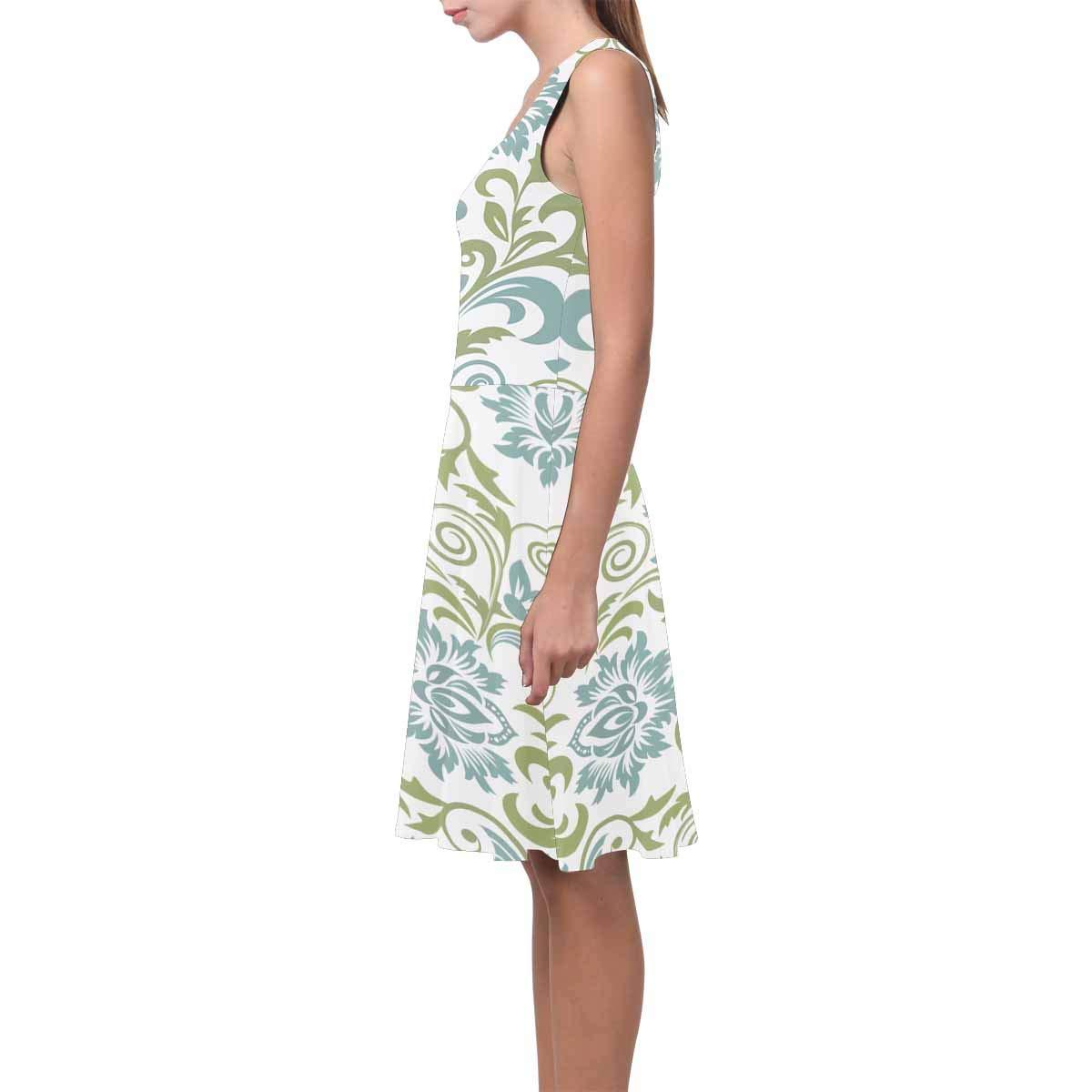 XS-3XL InterestPrint Womens Casual Tank Dresses Damask Floral Pattern Scoop Neck Sleeveless Sundresses