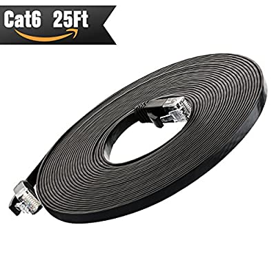 Cat 6 Ethernet Cable (at a Cat5e Price but Higher Bandwidth) Cat6 Internet Network Cable - Flat Ethernet Patch Cable Short - Black Computer LAN Cable - Enjoy High Speed Surfing