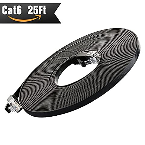 Cat 6 Ethernet Cable 25 ft (at Cat5e Price but Higher Bandwidth) Cat6 Network Cable - Ethernet Patch Cable - Computer Internet Cable With Snagless RJ45 Connectors - Enjoy High Speed Surfing - - 100' Molded Patch Cable
