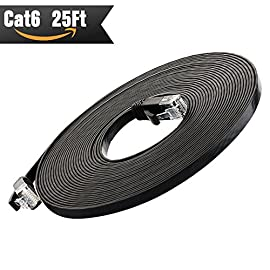Cat 6 Ethernet Cable 25 ft (At a Cat5e Price but Higher Bandwidth) Cat6 Internet Network Cable - Flat Ethernet Patch Cable Short - Black Computer Lan Cable - Enjoy High Speed Surfing 161 ✔Cat6 patch cable connects all the hardware destinations on a Gigabit Local Area Network (LAN), such as PCs, computer servers, printers, routers, switch boxes, network media players, NAS, VoIP phones, PoE devices, and more; Supports: Gigabit 1000 BASE-T; 100 BASE-T; 10 BASE-T .Meets or exceeds Category 6 performance in compliance with the TIA/EIA 568-C.2 standard ✔Flexible and durable Cat6 cable with high bandwidth of up to 250 MHz guarantees high-speed data transfer for server applications, cloud storage, video chatting, online high definition video streaming, and online gaming ✔Flat Cat 6 cable design helps avoid tangled cords and saves space.Flat Ethernet cable is super flexible when run under the carpet or bent in the plane of its thin cross-section such as doors, rotating arms, drawers etc