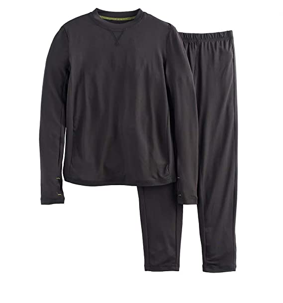 Boys Winter Base-Layer Thermal Underwear top and Bottom Set with Thumbhole 12c334d37