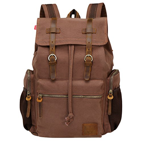Wowbox 17 Inch Laptop Canvas Backpack Unisex Vintage Leather Casual Rucksack School College Bags Satchel Bookbag Large Capacity Hiking Travel Rucksack Business Daypack for Men and Women(Coffee)